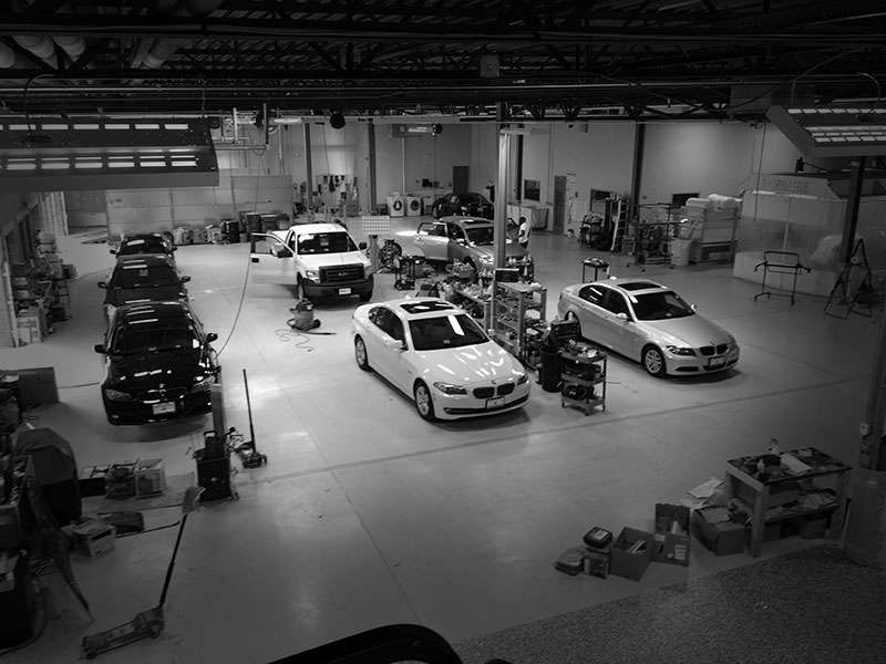 A photograph of the state of the art auto detailing and reconditioning shop at Automotive Quality Solutions