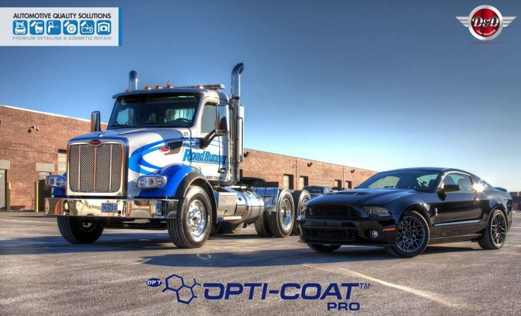 A Peterbuilt 567 and a Shelby GT500, both Detailed and Opti-Coat treated by AQS and D&D Auto Detailing
