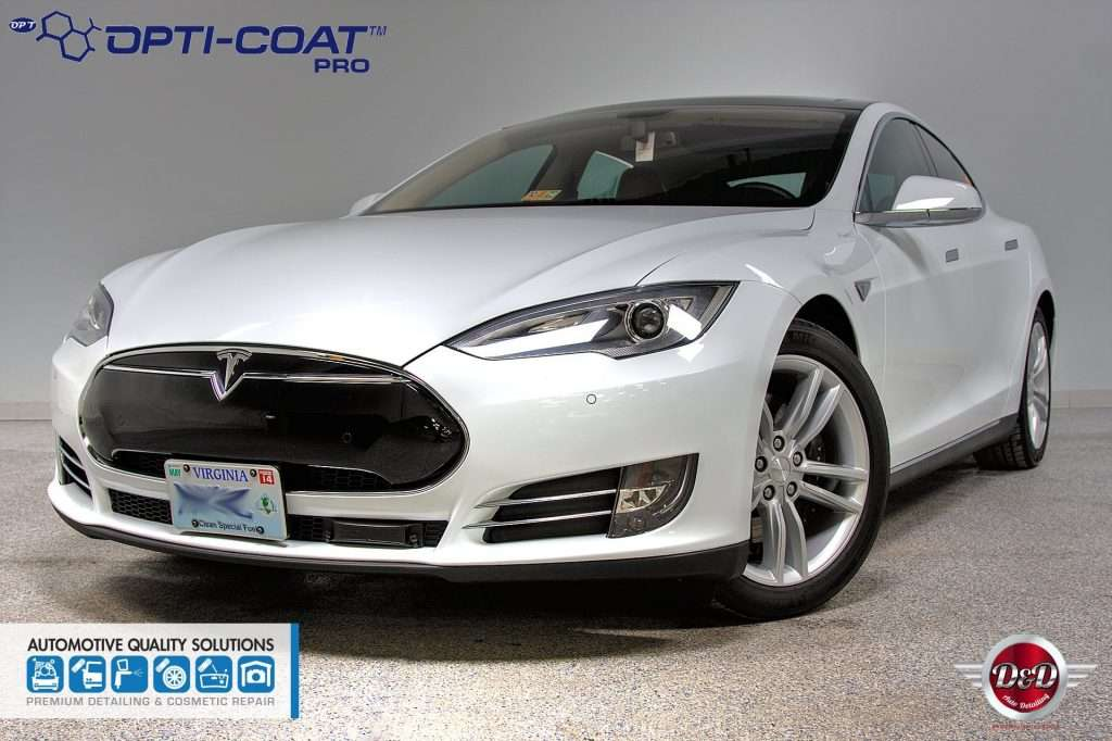 A White Tesla Model S Detailed and Opti-Coat treated by AQS and D&D Auto Detailing